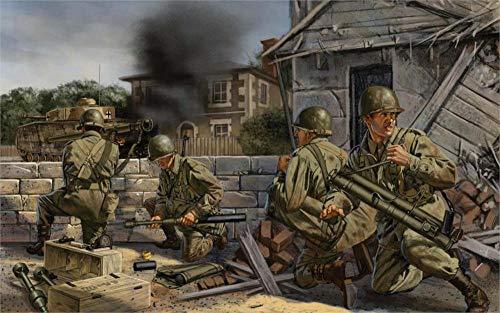 Puzzle 1000 piezas Tanque Lanzagranadas Bazooka Soldado Americano Ciudad Francesa Segunda Guerra Mundial puzzle 1000 piezas Gran ocio vacacional, juegos interactivos familiares50x75cm(20x30inch)