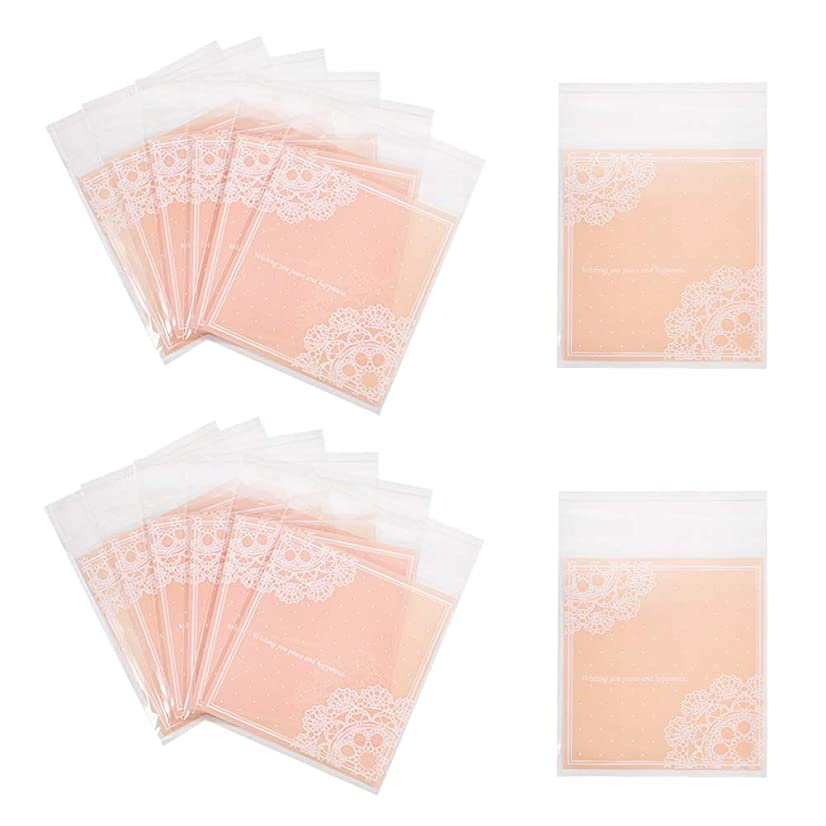 PH PandaHall About 280pcs Pink Color Rectangle OPP Cellophane Bags with Self Adhesive Seal for Party Favor Treat Bags Presents Artworks Crafts, 4x3.8 inch