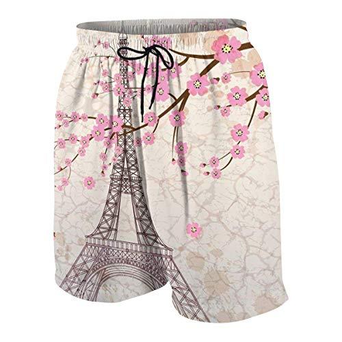Yuanmeiju Torre Eiffel Pantalones de Playa para Adolescentes Pantalones de Playa Transpirables Ligeros de Secado rápido con Bolsillos