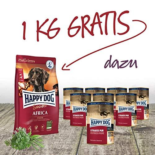 Happy Dog - Dose Strauß PUR 10 x 400 g + 2 gratis + 1 kg Africa