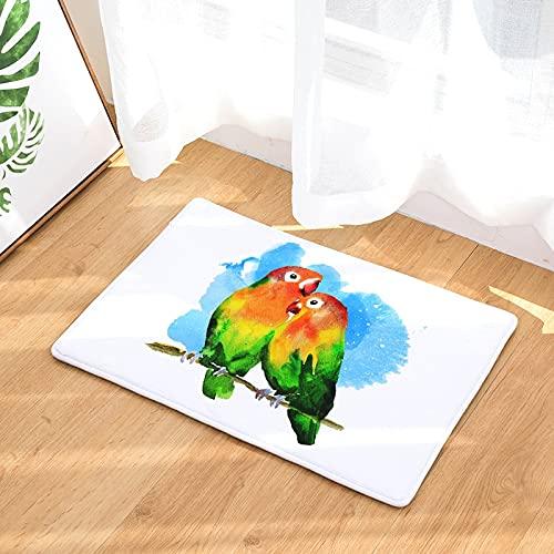 OPLJ Alfombra de impresión de Pintura de Loro Lindo de Dibujos Animados Alfombra Antideslizante Lavable Alfombra al Aire Libre Alfombra de Puerta de Animales A7 50x80cm
