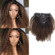 Caliee Afro Kinky Curly Clip in Hair Extensions Remy Brazilian Human Hair 4A 4B for African American Black Women Two Tone T#1B/4 Brown 120 Gram 12 Inch