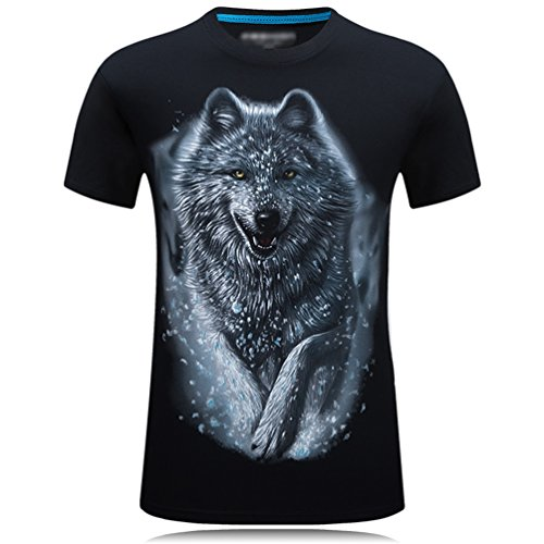 Cayuan Camisetas da Manga Corta Hombre 3D Lobo Animal Graphics Imprenta tee Shirt Verano Loose O Neck Tops Club
