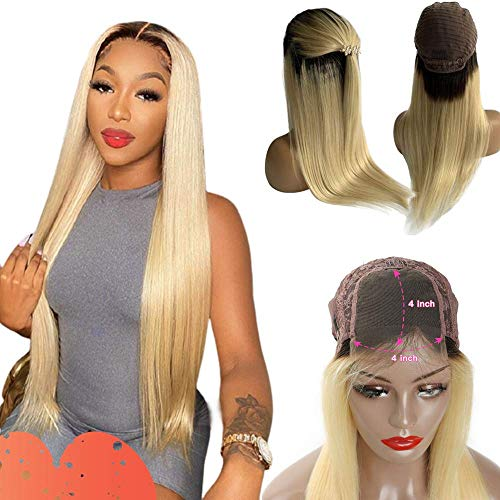 4X4 Lace Front Wig Human Hair With Baby Hair Straight Glueless 150% Density Lace Closure Wig Pre-Plucked Hairline 1B613 Blonde With Dark Roots For Women 12 Inch