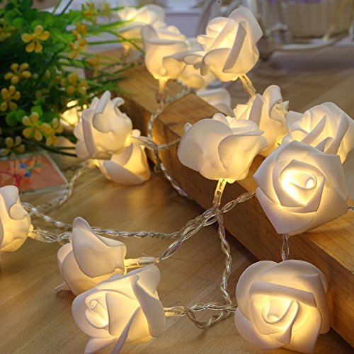 Chilits 2M Rose Flower String Lights 20 LEDs Rose Flower Fairy Lights Romantic Fairy String Lights for Bedroom Wedding Birthday Family Party Garden Indoor and Outdoor Decoration Rose String Lights