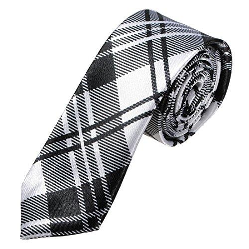 SODIAL(R) Homme Cravate A Carreaux Soie Slim Pour Fete Mariage Soiree Tie Necktie Noir et Blanc