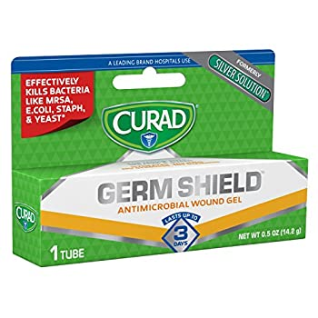 Curad Germ Shield Antimicrobial Silver Wound Gel for topical cuts wounds diabetic sores MRSA Bacteria Fungus Yeast Clear 0.5 Ounce