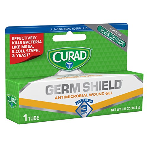 Curad Germ Shield Antimicrobial Silver Wound Gel, for topical cuts, wounds, diabetic sores, MRSA, Bacteria, Fungus, Yeast, Clear, 0.5 Ounce