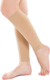 Ailaka Women & Men 20-30 mmHg Graduated Compression Calf Sleeves, Firm Support Footless Compression Socks for Varicose Veins, Shin Splints, Edema, Recovery, Maternity, Cycling, Running, Travel