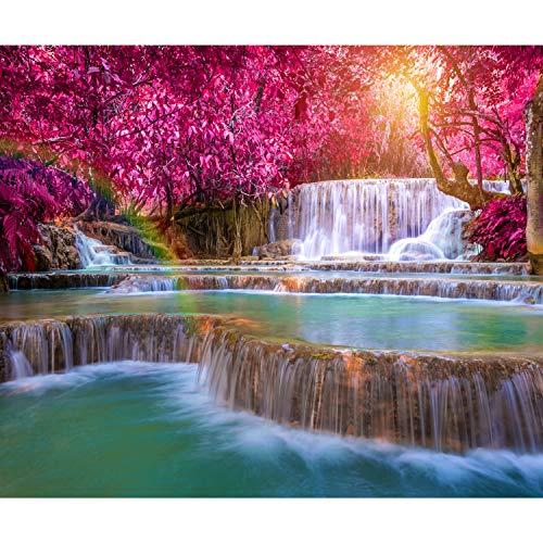 decomonkey Fototapete Wasserfall 350x256 cm XXL Design Tapete Fototapeten Vlies Tapeten Vliestapete Wandtapete moderne Wand Schlafzimmer Wohnzimmer Regenbogen Natur Landschaft