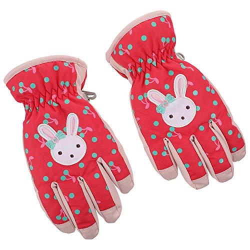 VALICLUD Kinder Schnee Ski Handschuhe mit Kaninchen Muster Kinder Snowboard Handschuhe Winter Warm Stoff Baumwolle Cartoon Fäustlinge für Mädchen Outdoor-Aktivitäten Rot S