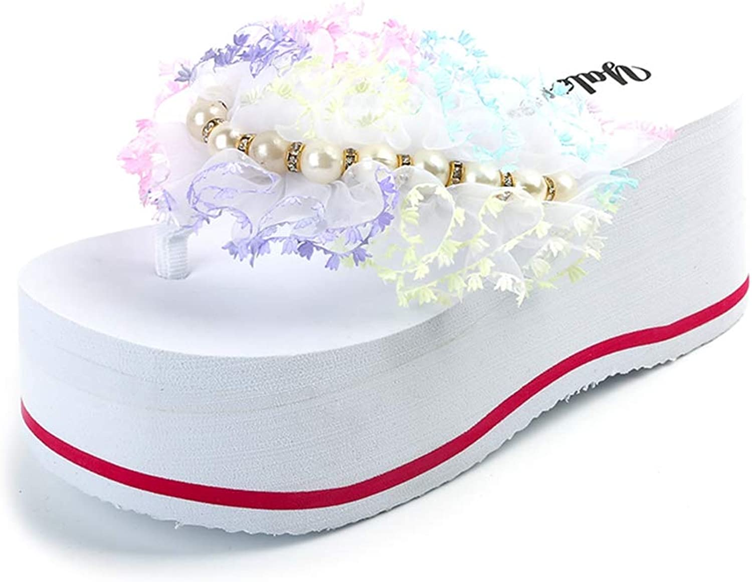 Womens Thongs Flip Flops Lace String Bead Beach Flowers Footwears High Heels Platform Slides Wedges Sandals for Girls shoes