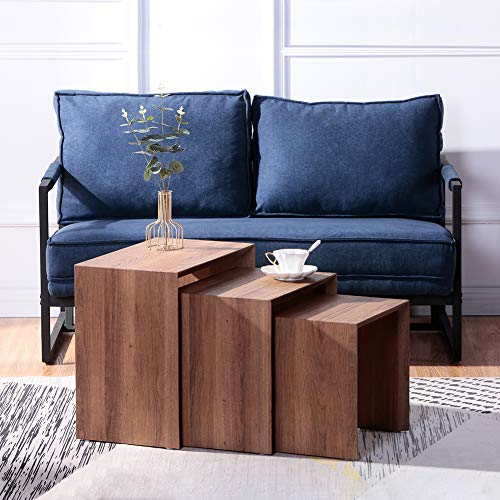 GOLDFAN Nest of 3 tables Wood Coffee Table Set Living Room Sofa Table Multi-functional End Side Table, Dark Brown