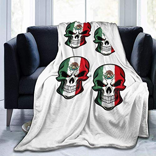 Engshi Mantas para Cama Mexican Flag Skull Soft and Warm Throw Blanket Digital Printed Ultra-Soft Micro Fleece Blanket