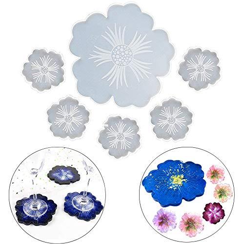 6Pcs Stampi in silicone resina per sottobicchieri di fiori Agata di cristallo per colata epossidica Vassoio tappetini per bicchiere di vino stampo per creazione di gioielli la decorazione Craft DIY