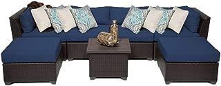 TK Classics BARBADOS-07a-NAVY Barbados 7 Piece Outdoor Wicker Patio Furniture Set, Navy