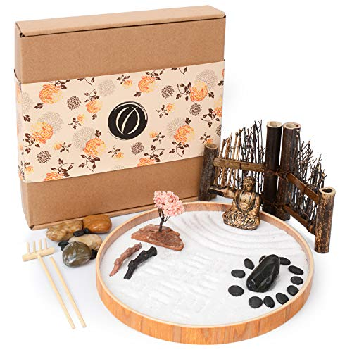 LotsOfZen Mini Zen Garden for Desk (9.5 Inch) — Desktop Zen Garden Kit with Round Sandbox,...