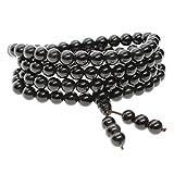 COAI Bracciale Collana 108 perle in ossidiana, Bracciale mala, Rosario Buddhista semi-prezioso