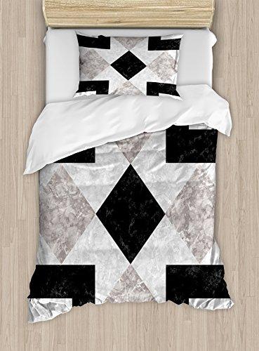 Apartamento Decor juego de funda nórdica por Ambesonne, nostálgico mármol piedra Mosaic diseño de Regular con atractivos elementos imagen, juego de cama con almohada decorativa, color negro y beige