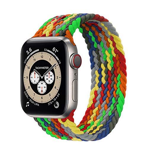 Cinturino intrecciato per cinturino Apple Watch 44mm 40mm 38mm 42mm Cinturino elastico in nylon per cinturino IWatch Series 3 4 5 Se 6,rainbow green42mm or 44mm