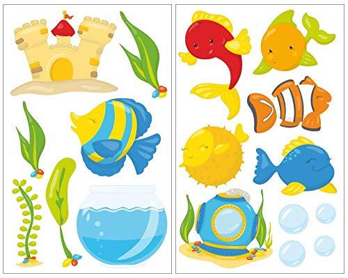 Samunshi® Mignon 17 pièces Aquarium Poissons Sticker mural pour chambre de Chambre de bébé, multicolore, 2x 16x26cm