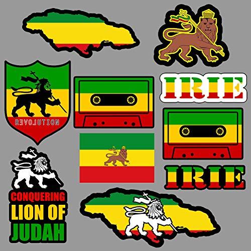 CELYCASY Löwe von Judah Aufkleber-Set, Rasta Rastafari Jamaica Reggae 420 Skate