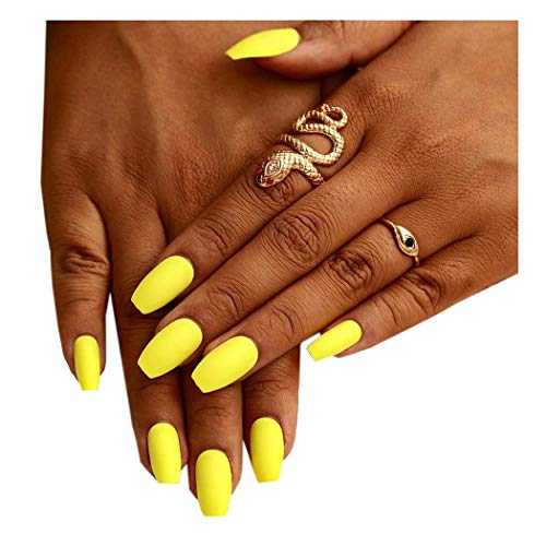 Fstrend Yellow Matte Fake Nails Fashion Full Cover Acrylic False Nails Punk Party Prom Clip on Nail for Women and Girls(24Pcs)