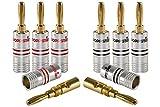 Poppstar 8X Bananas Altavoces; Banana Conector para Cable de Altavoz (hasta 6mm²), (4X Negro, 4X Rojo), contactos Dorados 24k