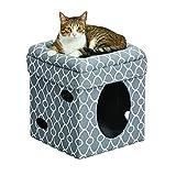 Cat Cube Cozy Cat House / Cat Condo in Fashionable Gray Geo Print 15.5L x 15.5W x 16.5H...