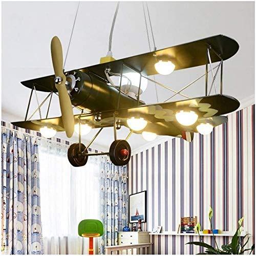 aipipl Candelabro Retro Industrial Modelo de avión Candelabro LED Dormitorio de niño Camuflaje Luz de Techo Candelabro Infantil Droplight