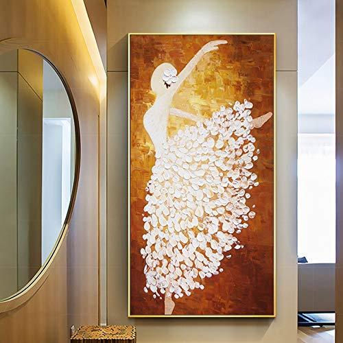 ZHUAIBA 100% handgemaltes Abstraktes Tanzen Ölgemälde auf Leinwand Wandkunst Rahmenlose Bild Dekoration für Wohnzimmer Wohnkultur Geschenk (50X100 cm) 20X40 Zoll