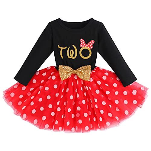 Kleinkinder Mädchen Mein 2. Geburtstag Partykleid Minnie Mouse Kostüm Baumwolle Langarm Gepunktet Tutu Tüll Rock Prinzessin Festkleid Abendkleid Herbstkleid Fotoshooting Bekleidung Schwarz + Rot - Two