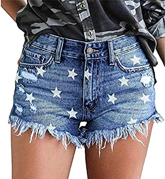 onlypuff Distressed Jeans Shorts for Girls Mid Waist Womens Star Blue Jean Shorts Cut up Shorts XL