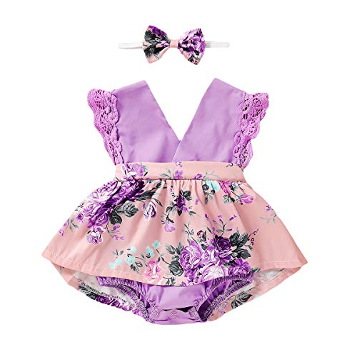 Toddler Baby Girl Clothes Floral Dress Lace Ruffle Sleeveless Backless Skirt with Headband 2Pcs Outfit (Purple, 0-6 Months)