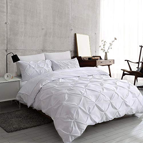 Easy Wash Breathable Vintage PolyCotton Pinch Pleat Pintuck Diamond Design Quilt Duvet Cover Set with Pillowcases - White King