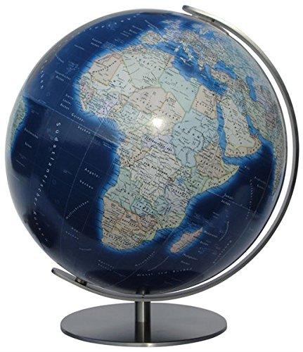 COLUMBUS DUO AZZURO: 34 cm Durchmesser, OID-Code, Meridian und Fuß Metall, Edelstahl, matt