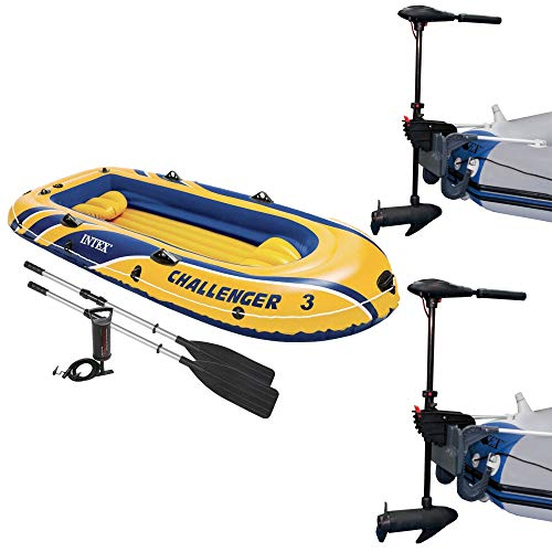 Learn More About Intex Challenger 3 Inflatable Raft Boat Set & 2 Eight Speed Trolling Motors