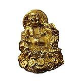 Wgd Foxi Oro Buda De Risa Estatua, Escultura Dinero Buda Maitreya, Estatuas Chino Feng Shui Resina Figuras For El Hogar Decoración De Jardín