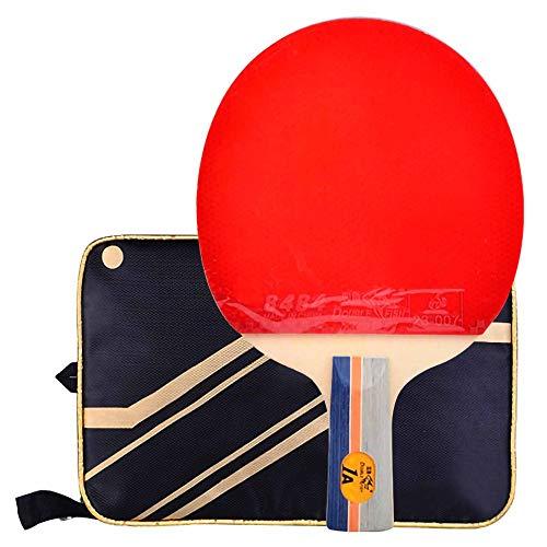 Lerten Palas de Ping Pong,Bate de Tenis de Mesa 1 Estrella,Defensiva de 5 Capas de Madera Pura Raqueta Profesional Adecuada para el Entrenamiento de Principiantes/A/Mango corto