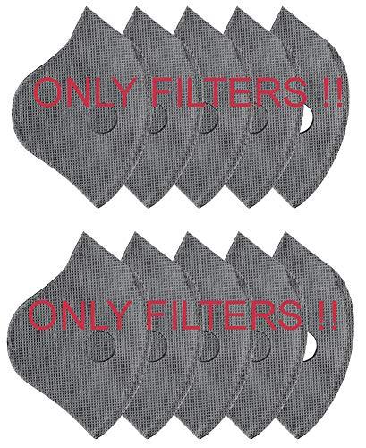 MFAZ Morefaz Ltd nti Staub/Smog/Wind Maske Unisex Radfahren Staubdichtes Sport-Atemschutzgerät Gesichtsmaske Laufen Staubfilter Masken (Filter 10 Stück)