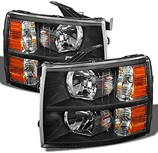 For 2007-2013 Chevy Silverado Replacement Black Bezel Headlights Driver/Passenger Head Lamps Pair New