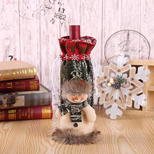 Gaocunh Weinflaschenhülle mit Cartoon-Motiv ist sehr niedlich, perfekte Deko-Stoffe mit Stereo-Puppen, für Ihren Weihnachtstisch schneemann