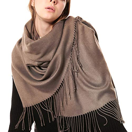 Womens Thick Soft Cashmere Wool Pashmina Shawl Wrap Scarf - OHAYOMI Warm Solid Color Stole(Shrimp Paste)
