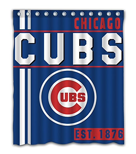 Chicago Baseball Team Emblem Waterproof Shower Curtain Blue Design Polyester for Bathroom Decoration 60 x 72 Inches with 12-Pack Plastic Hooks