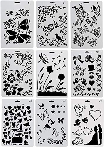 Kunststoff Zeichnung Malerei Schablone Vorlagen Set 9 Stück mit Blumen Vögel Schmetterling Figuren Tierform Herzform Perfekt für Notizbuch/Tagebuch/Scrapbook/Journaling/Karte DIY Handwerk Projekt