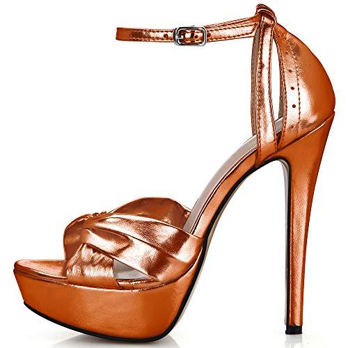 CHMILE CHAU-Zapatos para Mujer-Sandalias de Tacon Alto de Aguja-Elegantes-Novia-Boda-Nupcial-Vestido de Fiesta-Punta Abierta-Correa...
