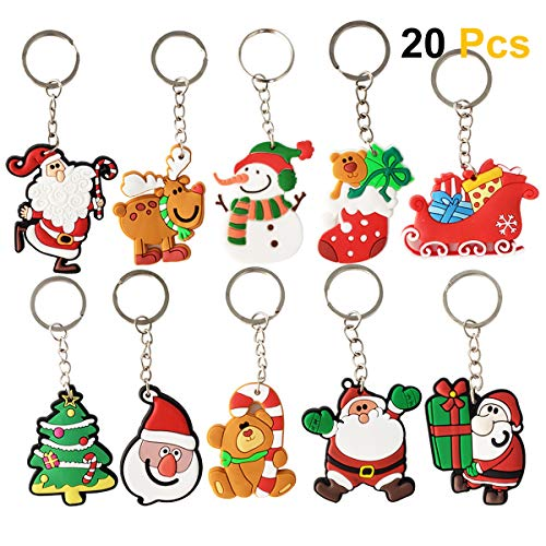 SZBAM 20 Pcs Christmas Themed Keychains for Christmas Gifts Christmas Party Favors
