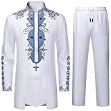 LAXX Men's 2 Piece African Dashiki Shirt, Traditional Tribal Pattern Gold Print Overshirt, Long Sleeve Top and Pants Suit… White Blue