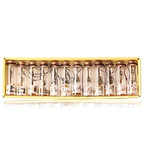 YFZYT - Botellas de deseos vintage con corcho, pequeña botella de cristal de corcho con colgante de metal, botella de goteo, botella con mensaje para decoración de regalo, vidrio, 12 Pcs, 12 unidades