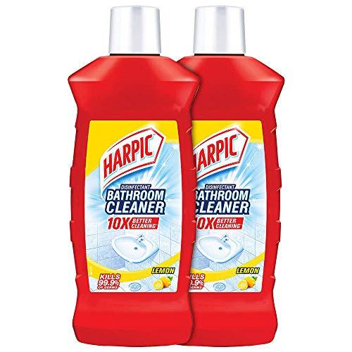 Harpic Disinfectant Bathroom Cleaner Liquid, Lemon - 1 L (Pack of 2) | With Sodium Hypochlorite 0.5% w/w Min.